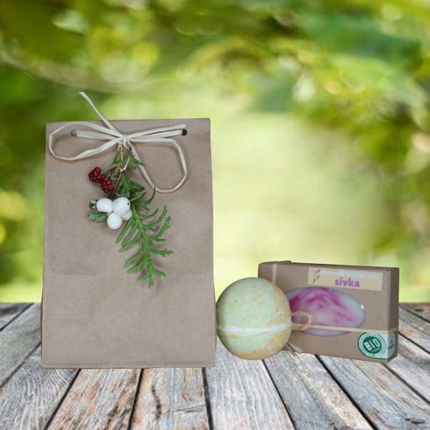 Darilni paket - kopalna kroglica in milo