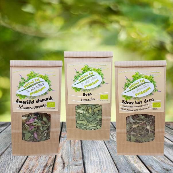 Bio zeliščni čaj - komplet 3 pakiranj čajev