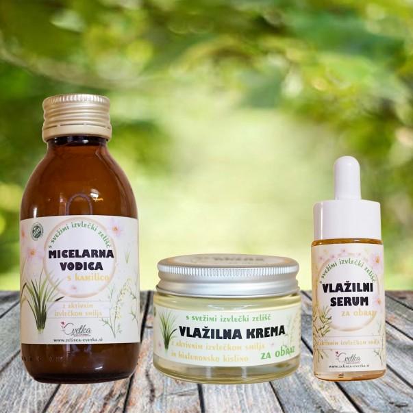 Vlažilna krema, vlažilni serum in micelarna vodica - komplet