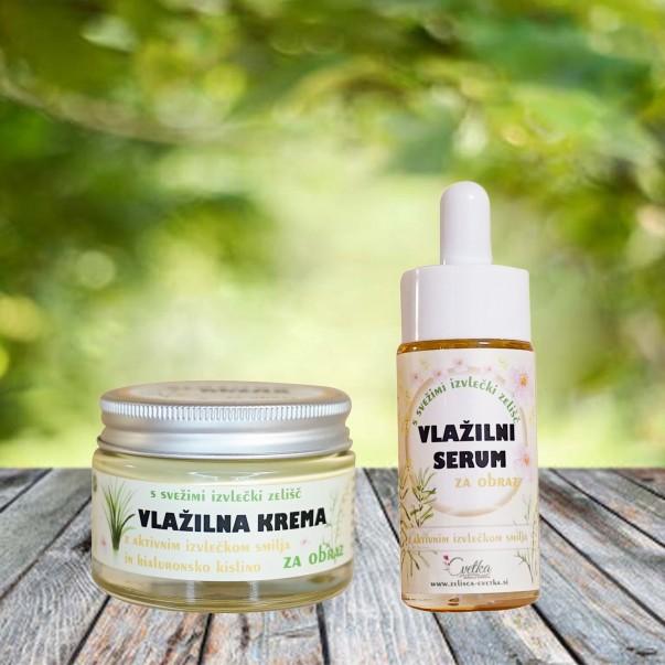 Vlažilna krema in serum za obraz - komplet