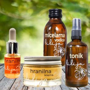 Hranilni serum, krema, tonik in micelarna vodica lilija - osebna kolekcija Coolmamacita