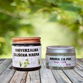 Komplet - univerzalna zeliščna krema in mazilo za pasje tačke Suki